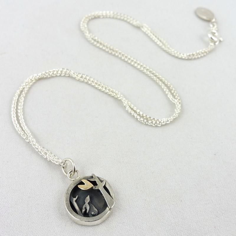 Silver & Gold Tree & Hare Pendant, by Linda Macdonald