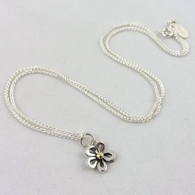 Silver & Gold Flower Pendant, by Linda Macdonald