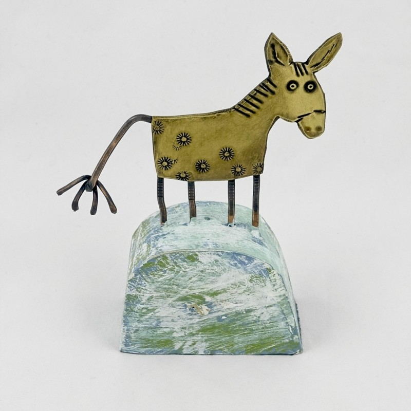 Copper Donkey on Wooden Base, by Frances Noon