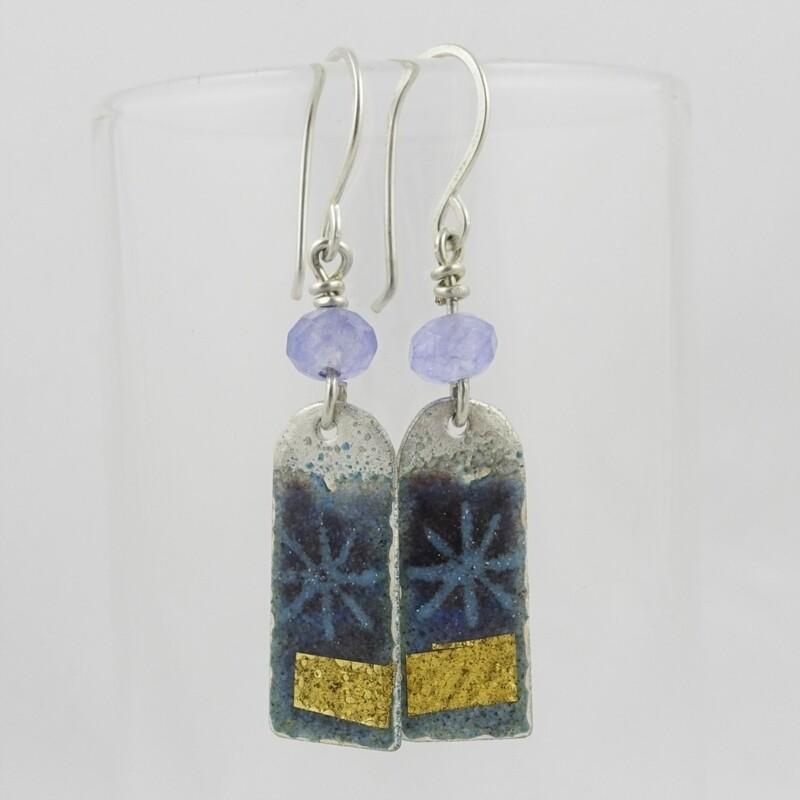 Enamelled Silver Earrings  by Nancy Pickard