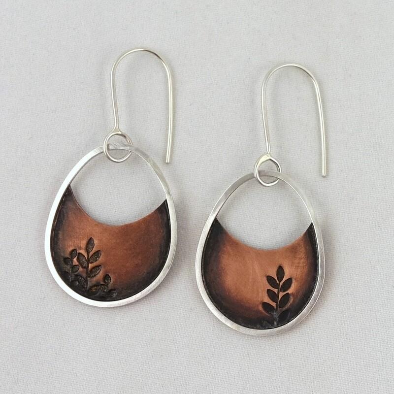 Silver & Copper Earrings by Helen Shere