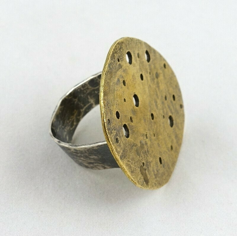 Brass Disc & Silver Ring, by Sarah Drew