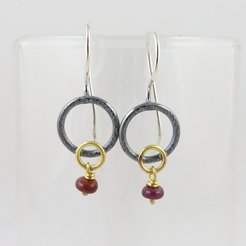 Silver & Ruby Earrings by Adele Taylor