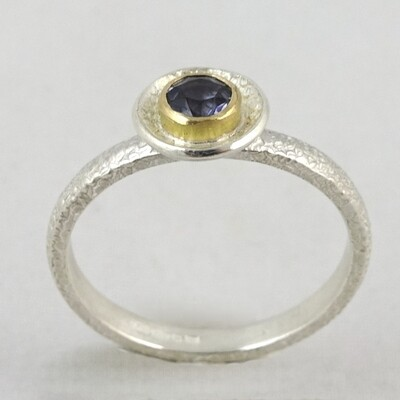 Silver Ring with Iolite in18ct Gold Setting, by Adele Taylor