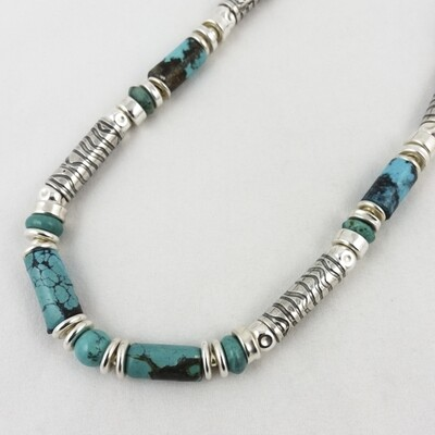 Turquoise and Etched Silver Necklace, by Anne Farag