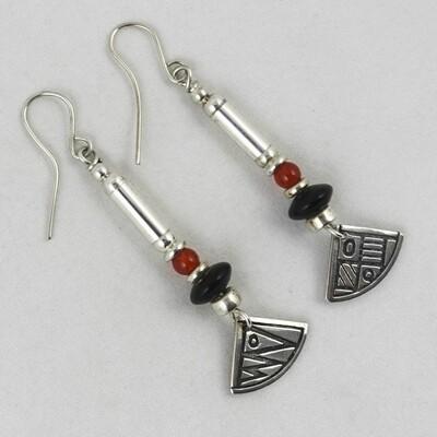 Carnelian, Onyx & Silver Earrings, by Anne Farag