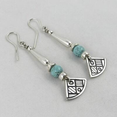 Turquoise & Silver Earrings, by Anne Farag