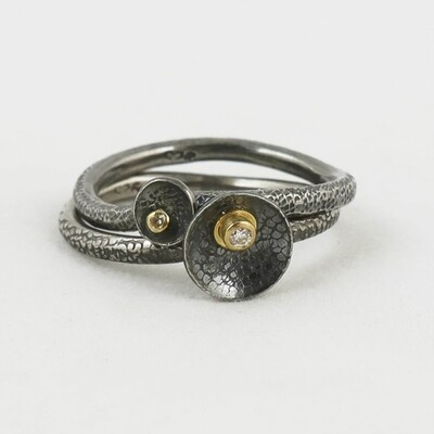 Silver Stacking Rings with Diamonds set in Gold, by Adele Taylor