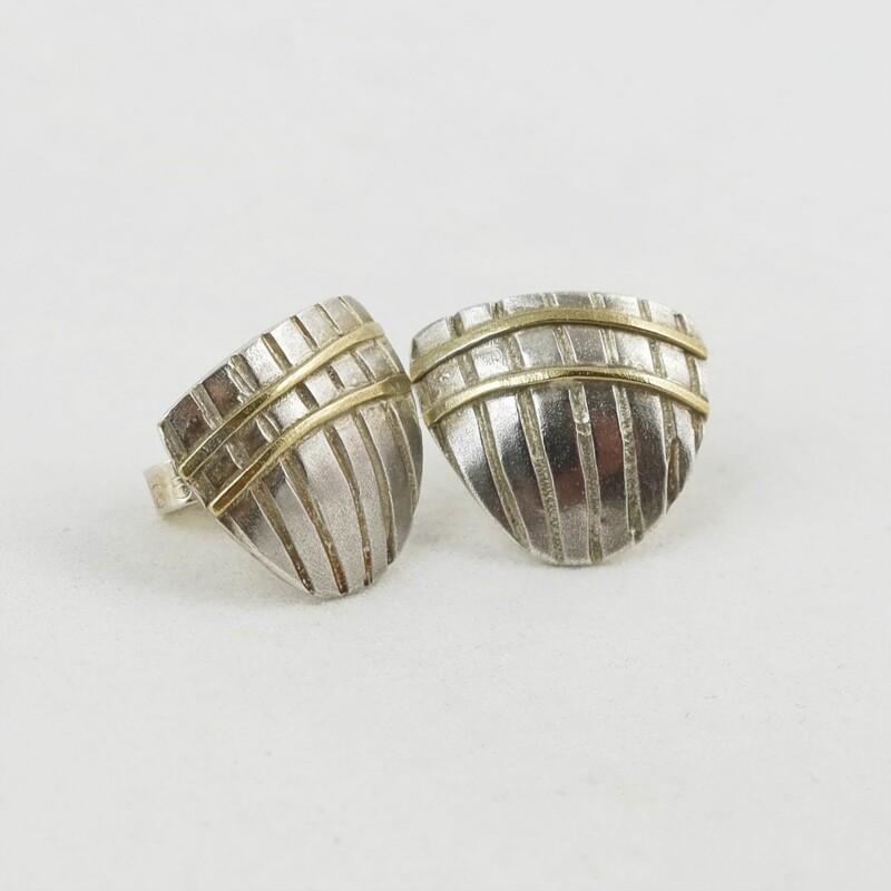 Silver & Gold Stud Earrings by Adele Taylor