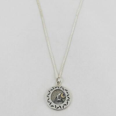 Silver Hare & Gold Moon Pendant, by Linda Macdonald