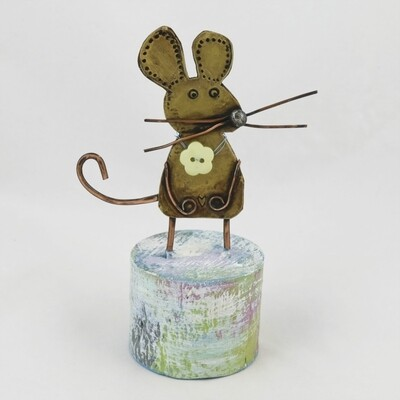 Copper Mouse on Wooden Base, by Frances Noon