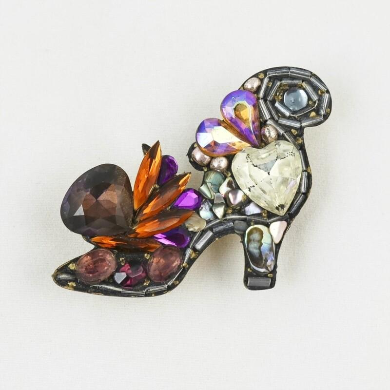 Vintage Bead Shoe Brooch, by Annie Sherburne