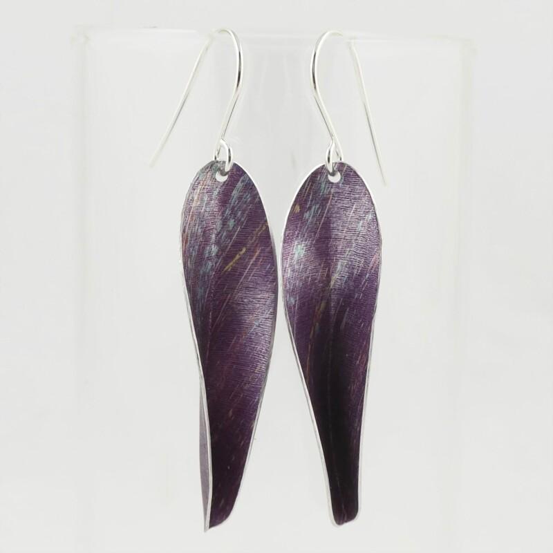 Purple Chilli Aluminium Drop Earrings, by Yu Lan