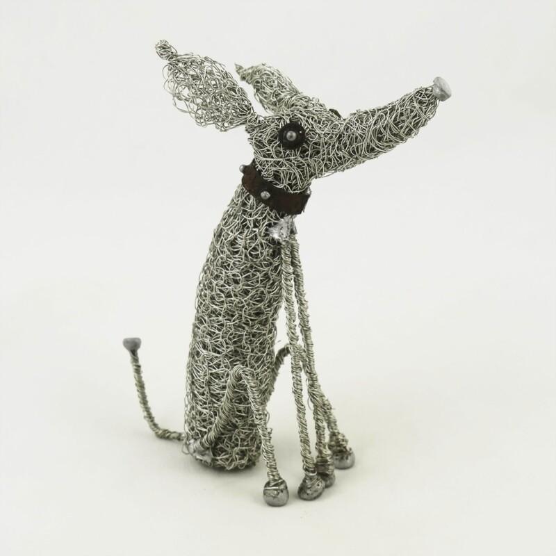 Sitting Hound Dog Wire Sculpture, by Sarah Jane Brown