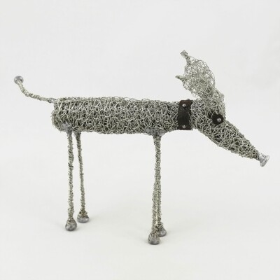 Standing Wire Hound with Collar, by Sarah Jane Brown