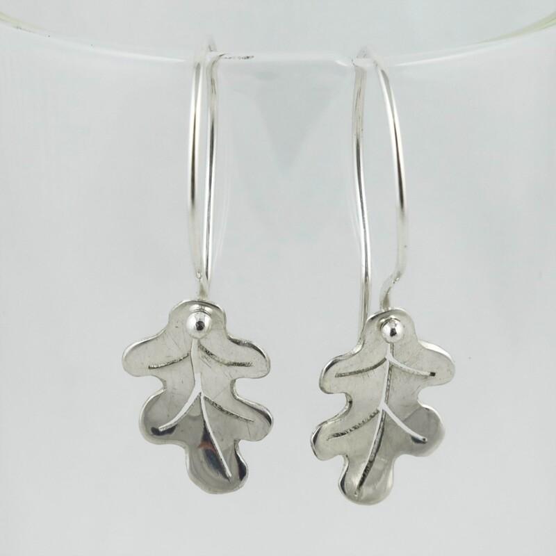 Silver Oak Leaf Earrings, by Evie Milo