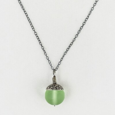 Green Acorn Pendant with Silver Cap, by Evie Milo