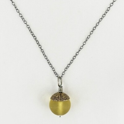 Yellow Acorn Pendant with Brass Cap, by Evie Milo