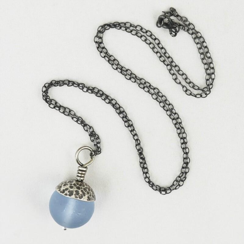 Blue Acorn Pendant with Silver Cap, by Evie Milo