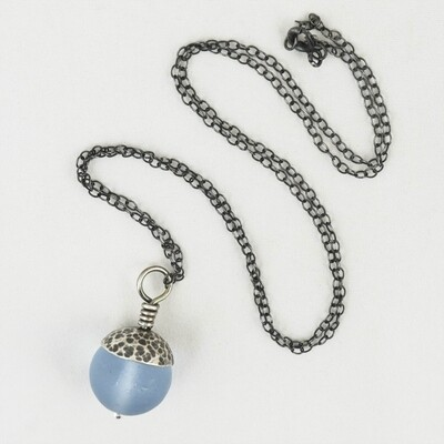 Blue Acorn Pendant with Silver Cap, by Evie Milo