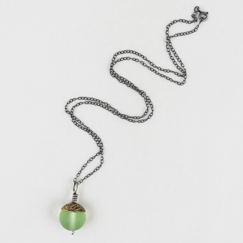 Green Acorn Pendant with Brass Cap, by Evie Milo