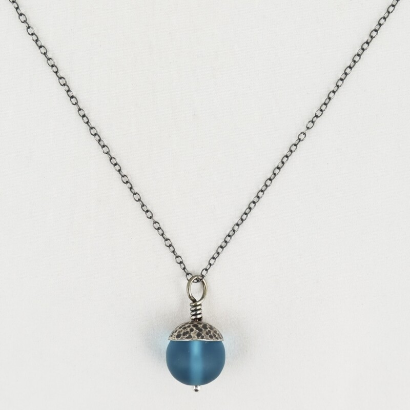 Teal Acorn Pendant with Silver Cap, by Evie Milo
