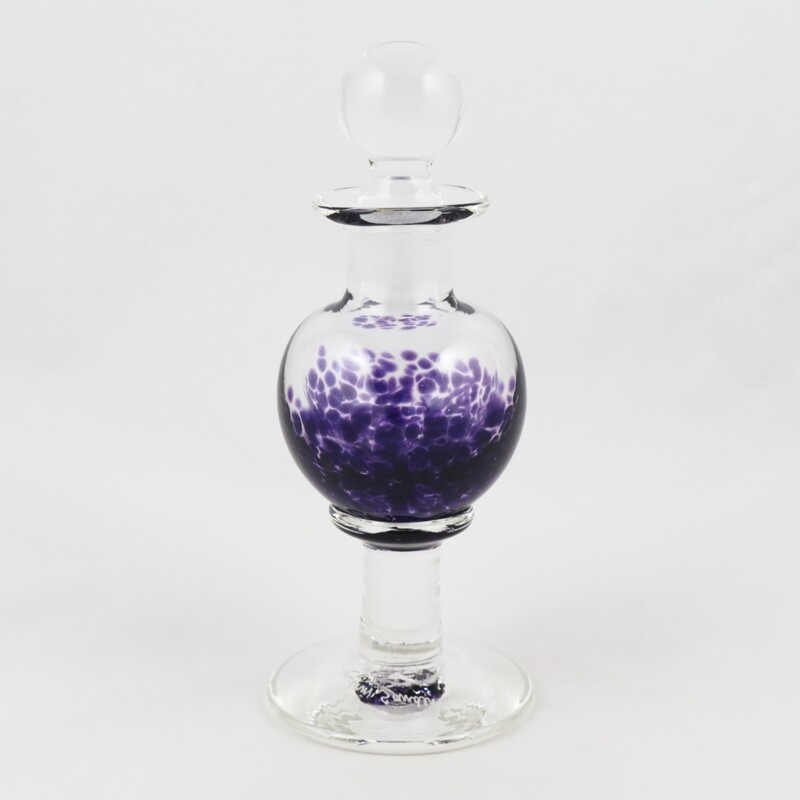 Small Purple Glass Stem Perfume Bottle, by Sanders and Wallace
