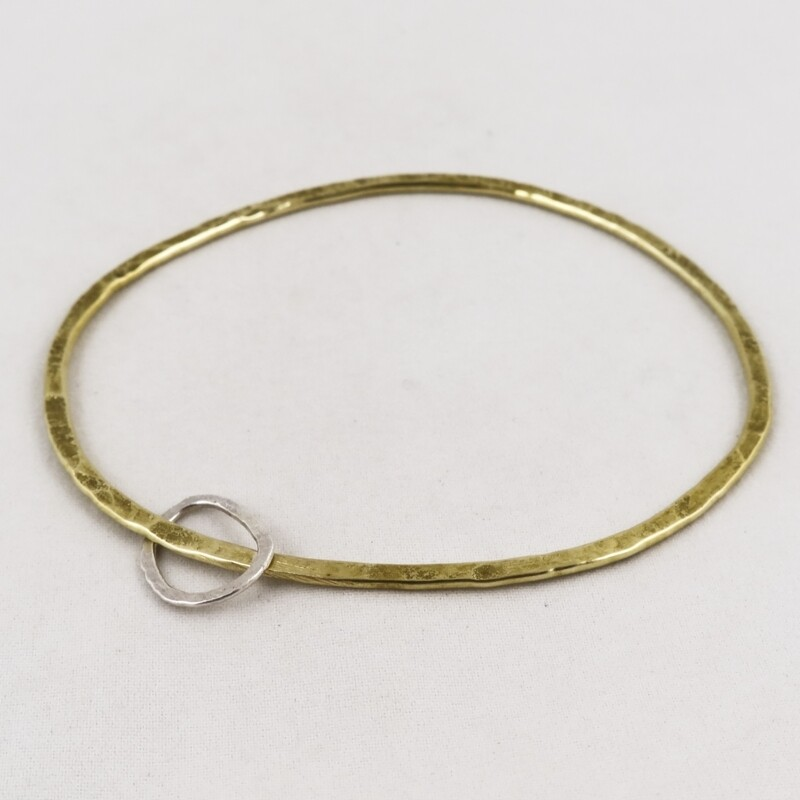 Hammered Brass Bangle with Silver Circle, by Sarah Drew
