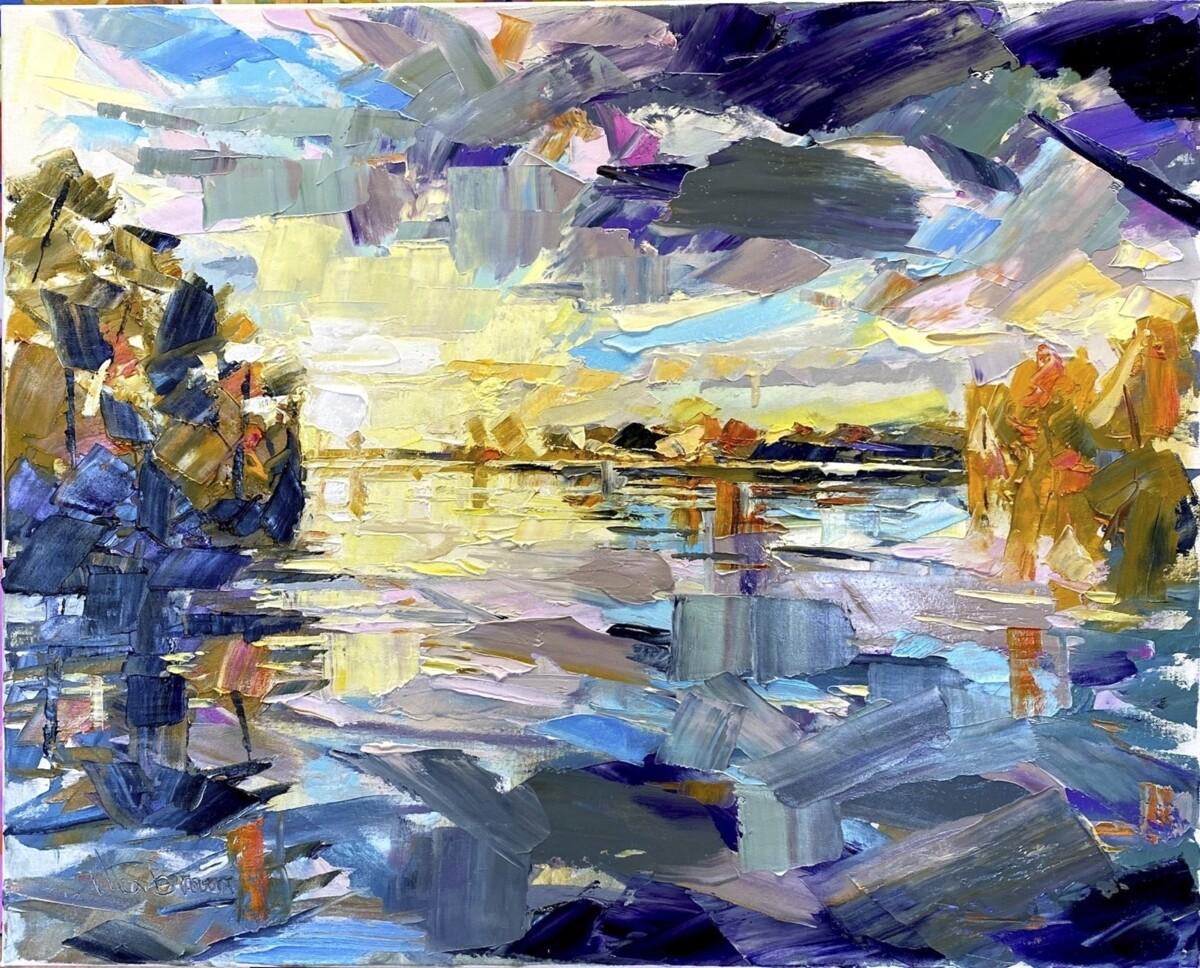 River Severn, original oil by Alex Brown