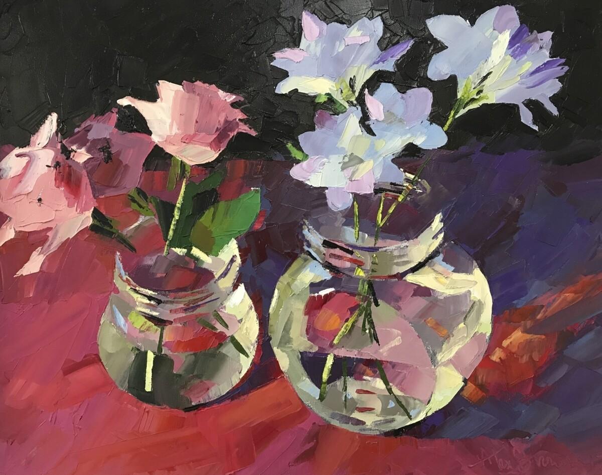 Kilner Jars with Flowers, original oil by Alex Brown