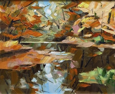 River Usk in Autumn, original oil by Alex Brown