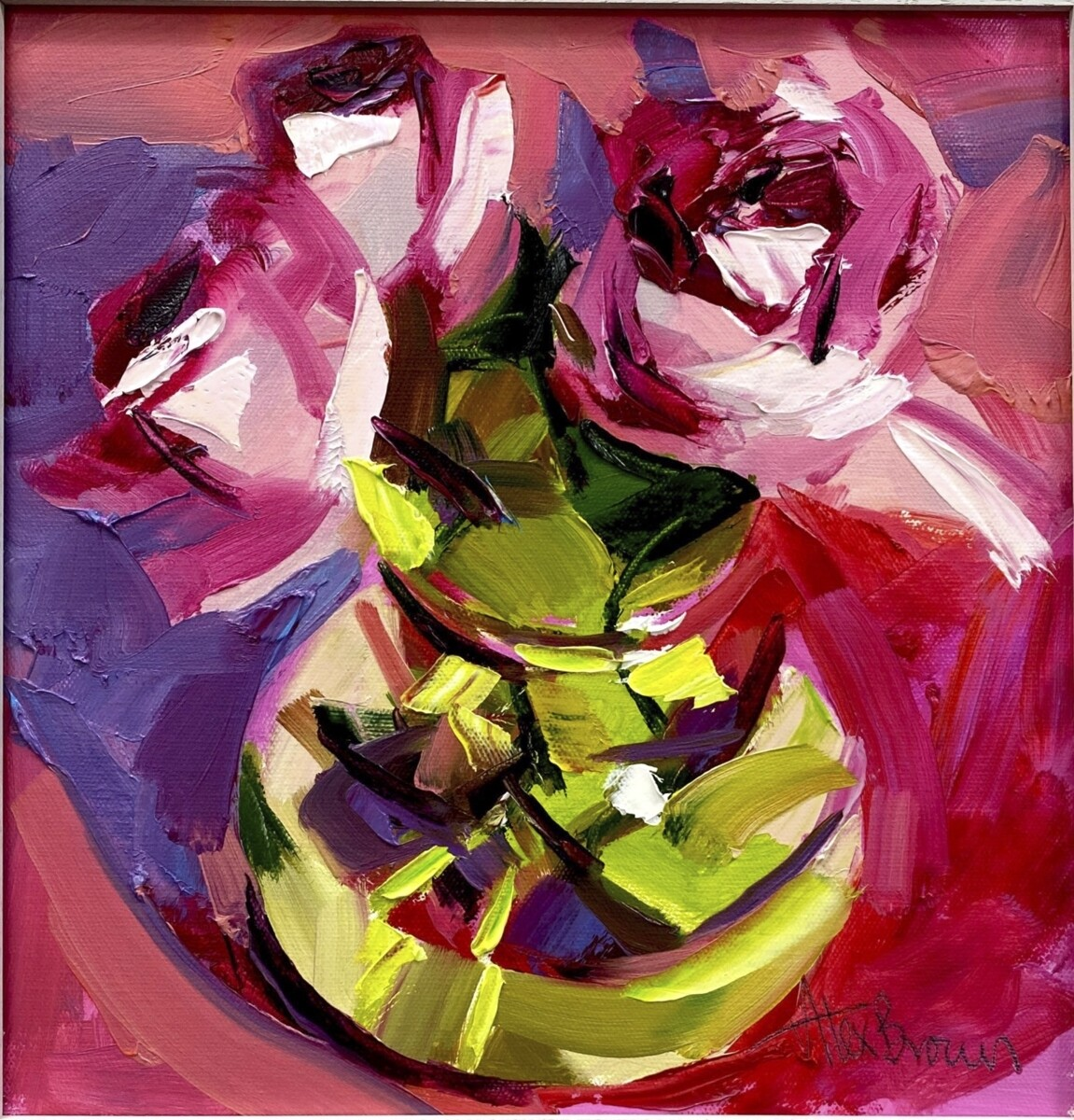 Pink Roses Glass Jar, original oil by Alex Brown