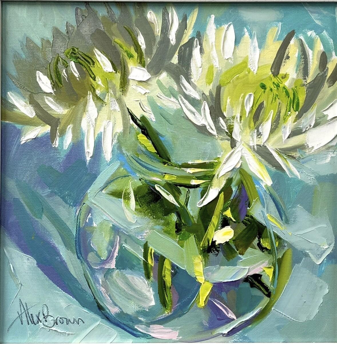 White Chrysanthemums, original oil by Alex Brown