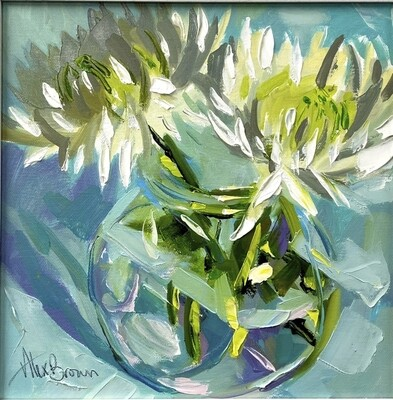 White Chrysanthemums, original oil by Alex Brown