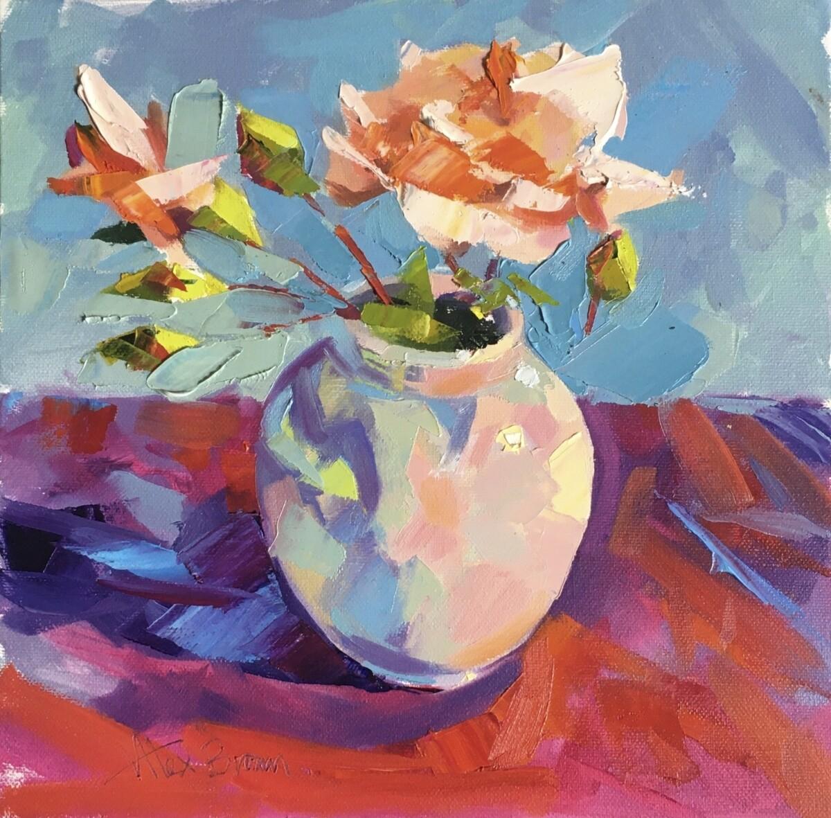 Turner Rose, original oil by Alex Brown