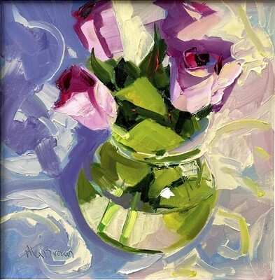 Roses in Kilner Jar, original oil by Alex Brown
