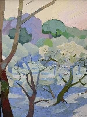 Olive Grove Sicily, original oil by Alex Brown