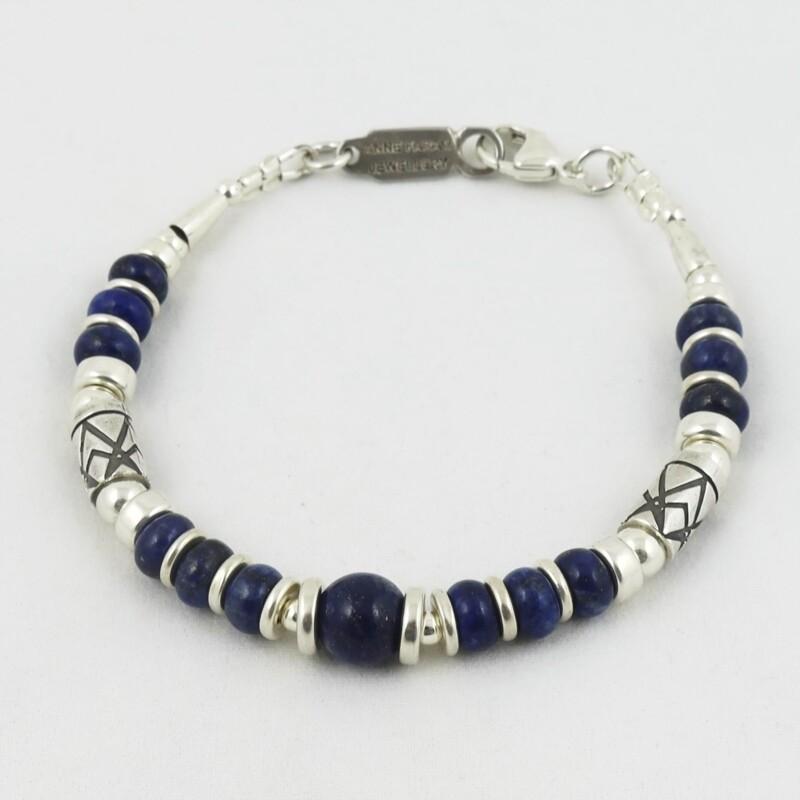 Lapis Lazuli & Etched Silver Bracelet, by Anne Farag