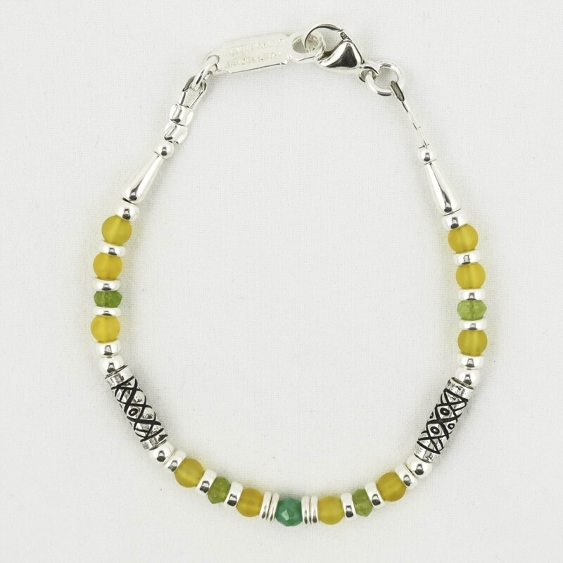 Serpentine & Quartz & Etched Silver Bracelet, by Anne Farag
