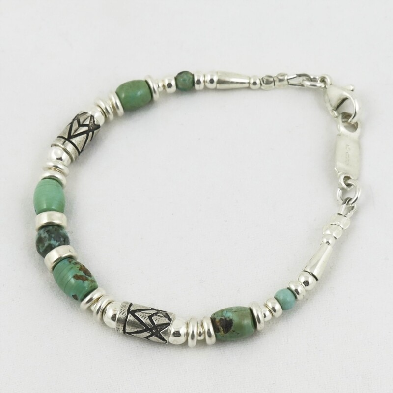Turquoise & Etched Silver Bracelet, by Anne Farag