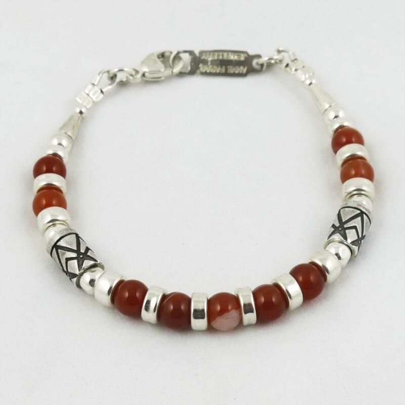 Orange Agate & Etched Silver Bracelet, by Anne Farag