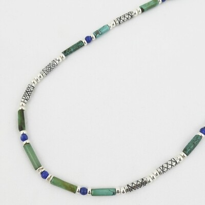 Turquoise and Lapis and Etched Silver Necklace, by Anne Farag