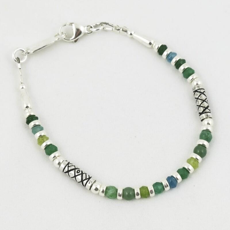 Green Quartz Beads & Etched Silver Bracelet, by Anne Farag