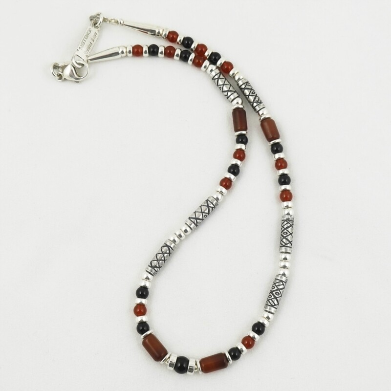 Carnelian, Onyx and Etched Silver Necklace, by Anne Farag