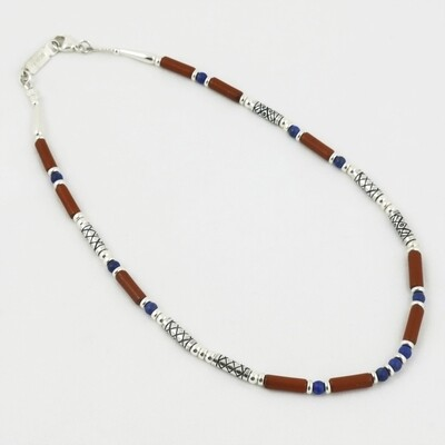 Red Jasper and Lapis and Etched Silver Necklace, by Anne Farag