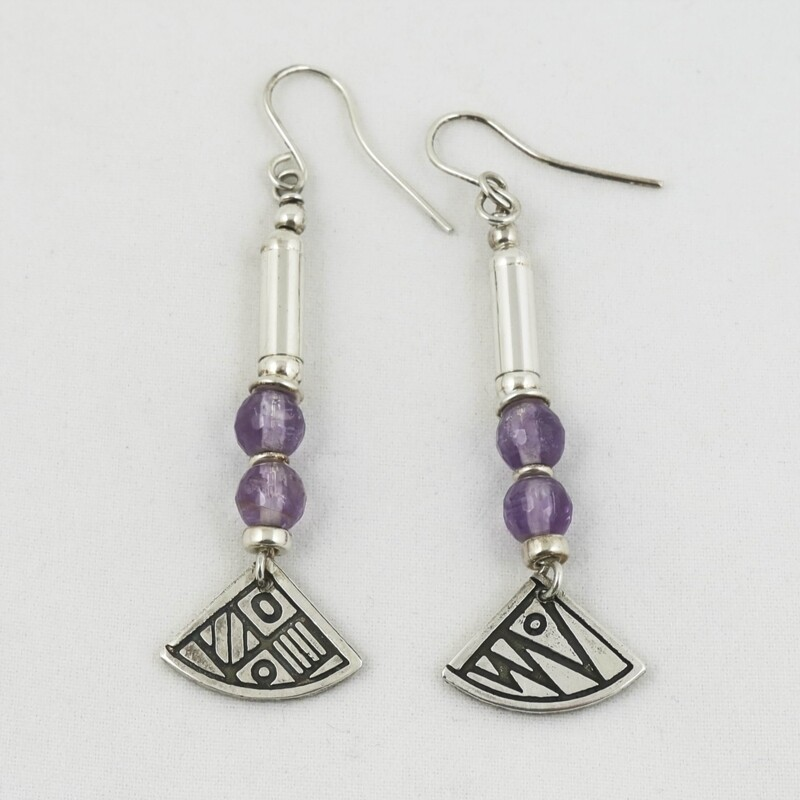 Lavender Amethyst & Silver Bead Earrings, by Anne Farag