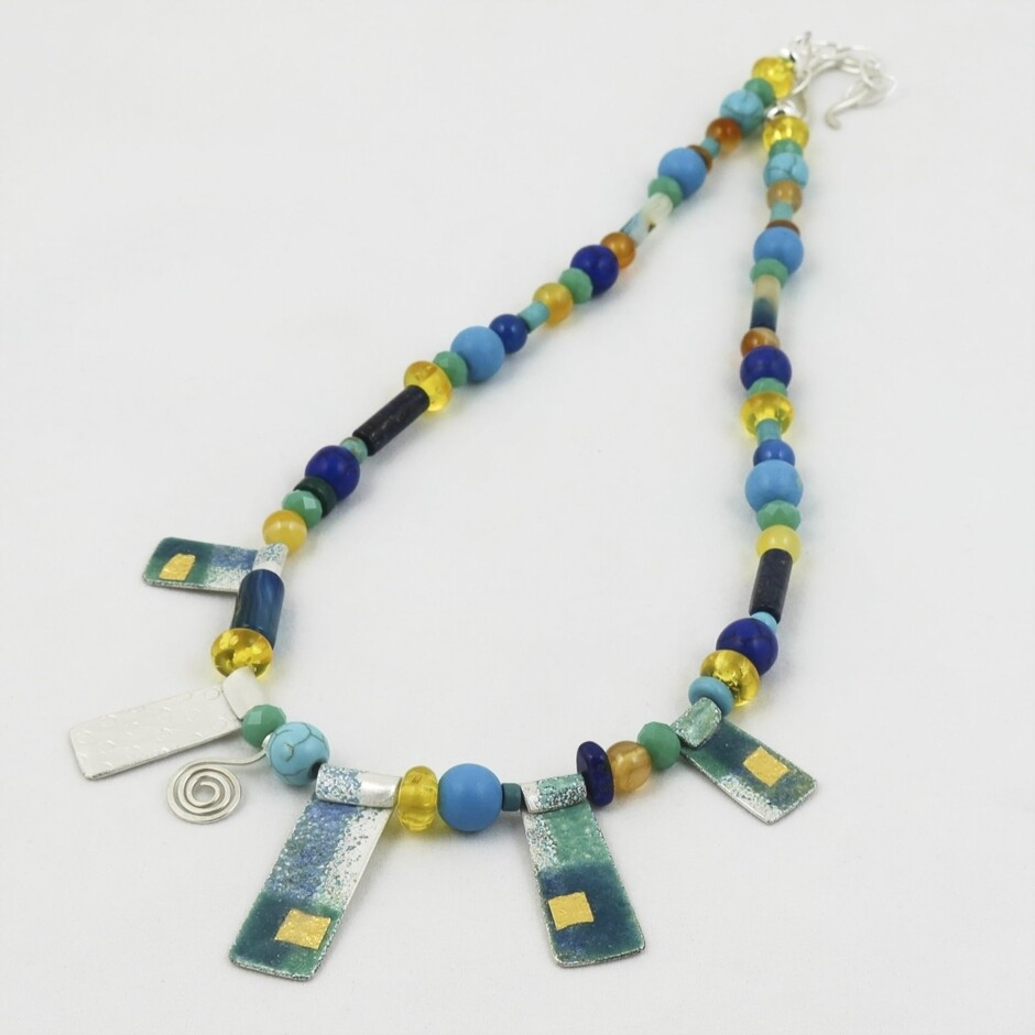 Enamelled Silver & Bead Necklace, by Nancy Pickard