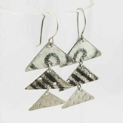 Triple section Enamelled Silver Earrings by Nancy Pickard
