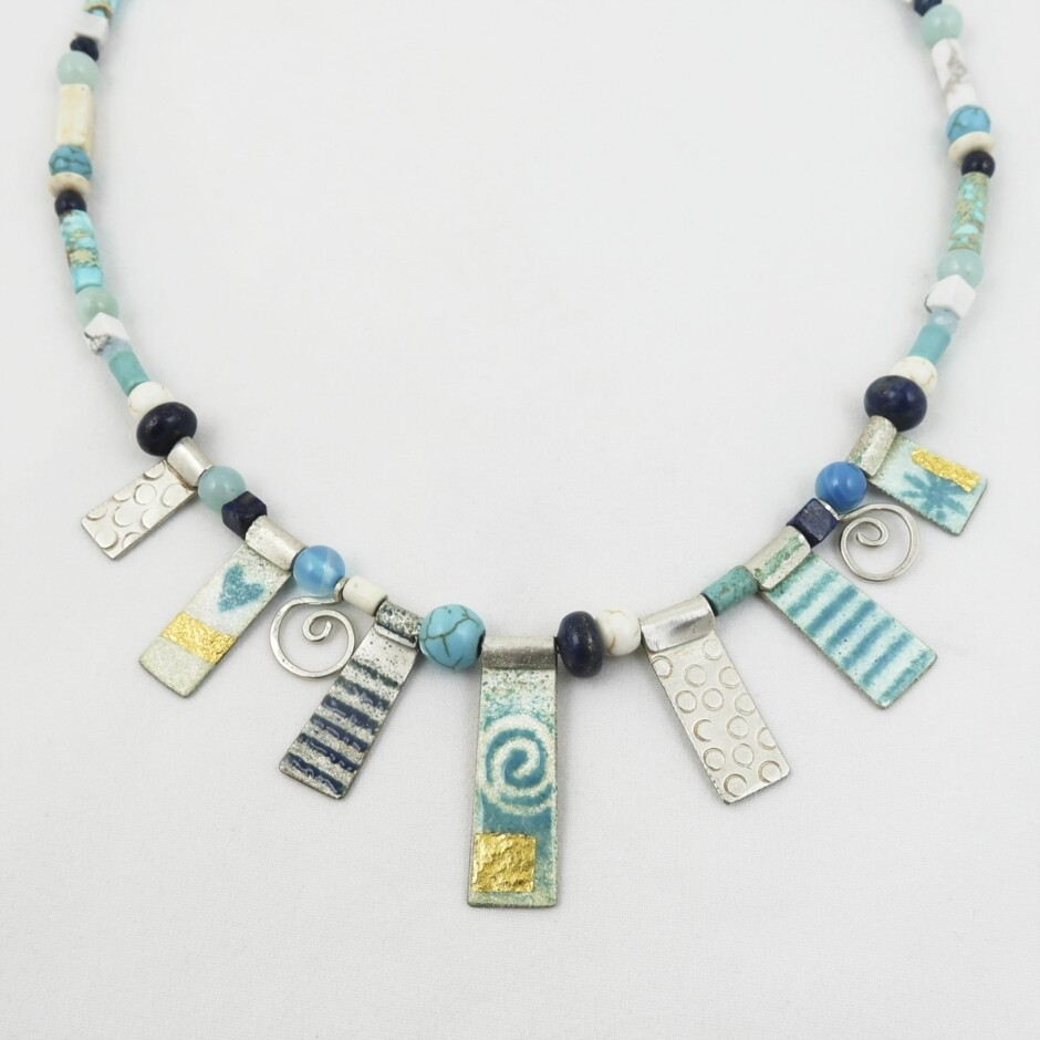 Enamelled Silver & Bead Necklace, by Nancy Pickard