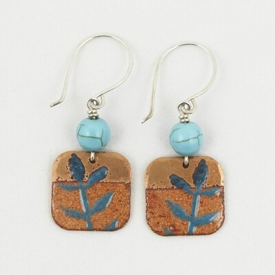 Enamelled Copper Earrings, by Nancy Pickard